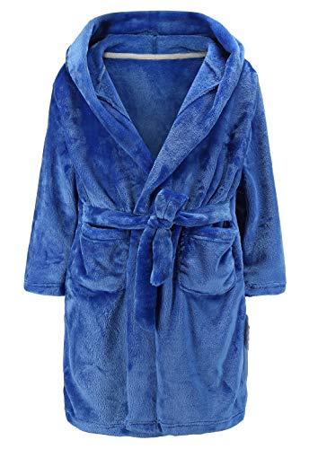 Baby Boys Girls Fleece Leopard Bath Robe Hooded Pajamas Sleepwear (5T,Blue) ()