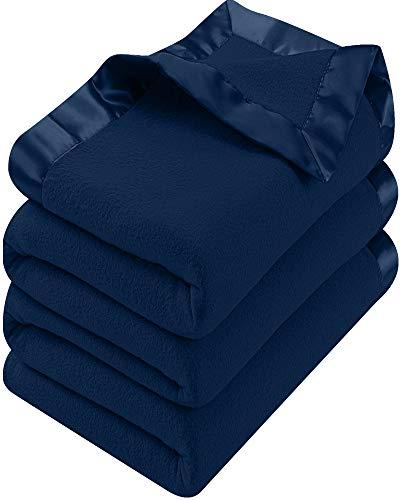 Utopia Bedding Polar Fleece Premium Bed Blanket with Sateen Ribbon Edges - Extra Soft Brushed Microfiber - (King, Navy)