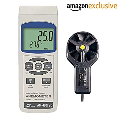 Lutron AM-4207SD Anemometer, Type K/J Temp SD Card Real time Data Logger Along with Calibration Certifcate
