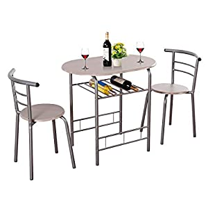 Giantex 3 Piece Dining Set Compact 2 Chairs and Table Set with Metal Frame and Shelf Storage Bistro Pub Breakfast Space Saving for Apartment and Kitchen