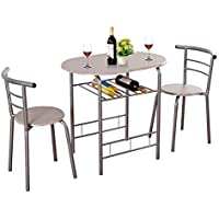 Giantex 3 Piece Dining Set Compact 2 Chairs and Table Set...