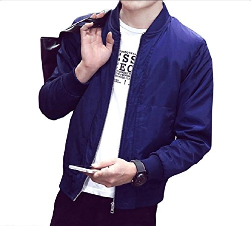 Color Autumn Juniors' Blue Fit Fitted Solid Jacket Top Zip XINHEO Men Relaxed PR81wYWqf