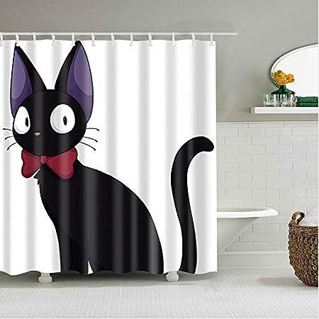 xiaodanhan Cortina De Ducha Impresión 3D Dibujos Animados Gato Negro Pantallas De Baño Decoración De Cortina