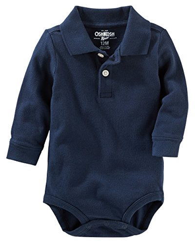 OshKosh B'Gosh Baby Boys' Long Sleeve Polo Bodysuit (18 Months, Navy)