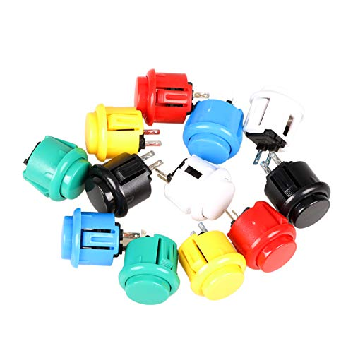 EG STARTS 12x 24mm OEM Arcade Push Buttons Switch Perfect Replace for Sanwa OBSF-24 OBSC-24 OBSN-24 Push Button DIY Fighting Stick PC Joystick Games Parts ( Each Color of 2 Pieces )]()