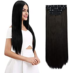 "REECHO 18"" Straight Long 4 PCS Set Thick Clip in on Hair Extensions Black Brown"
