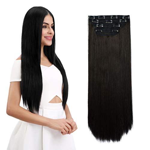 REECHO 16″ Straight Short 4 PCS Set Thick Clip in on Hair Extensions Black Brown