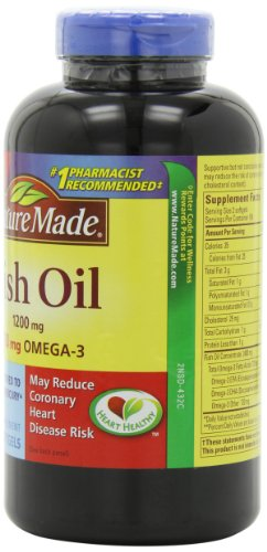 031604025861 - Nature Made 1200mg of Fish Oil, 2400 per serving, 360mg of Omega-3, 300 Softgels carousel main 3