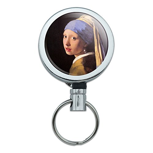 All Metal Retractable Reel ID Badge Key Card Holder with Belt Clip Art Paintings - The Girl With The Pearl Earring Vermeer