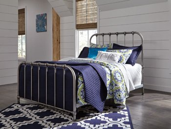 Ashley Furniture Signature Design - Nashburg Metal Bed - Complete Headboard and Footboard with Rails - Twin - Bronze Finish ()