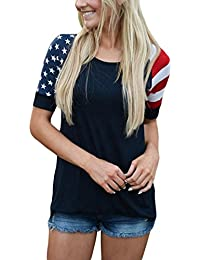 Womens Stars Stripes Short Sleeve Tee Tops Summer Blouse