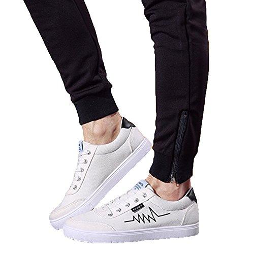 Yying Chaussure à Lacets Pour Homme - Fashion Printemps Automne Casual Baskets Basses Confortable et Respirant Chaussures de Sport en Toile Pour Adolescents blanc 1 8yZewv7I4