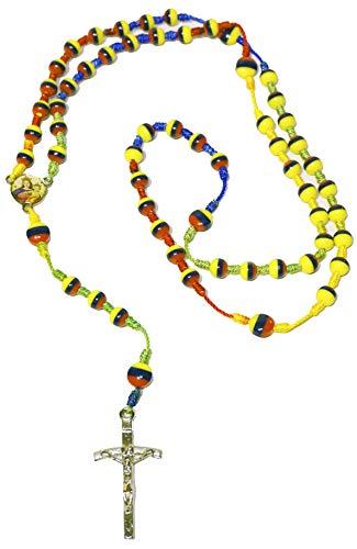 (Typical Handmade Holy Rosary Colombia Ecuador Venezuela Tricolor Beads Centerpiece Sanctified Rosario Natural Jesus Cross (Tricolor Nylon))