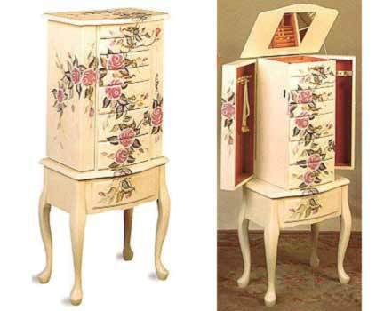 Hand Painted Roses Free Standing Jewelry Armoire