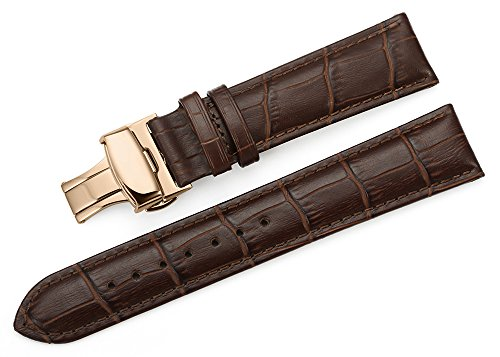 iStrap 22mm Calf Leather Watch Band Strap W/ Rose Gold