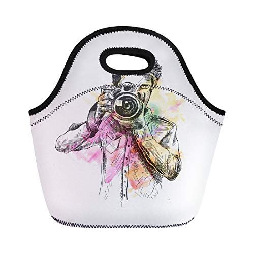 Semtomn Neoprene Lunch Tote Bag Colorful Holi of Male Photographer Camera Sketch Paparazzi Film Reusable Cooler Bags Insulated Thermal Picnic Handbag for Travel,School,Outdoors,Work