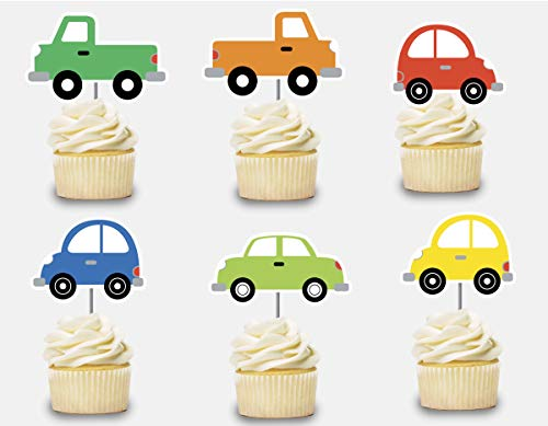 Cars Cupcake Toppers 12 pcs, Transportation Cake Picks Birthday Decoration, Party Supplies, Boys Baby Shower Themed Celebration