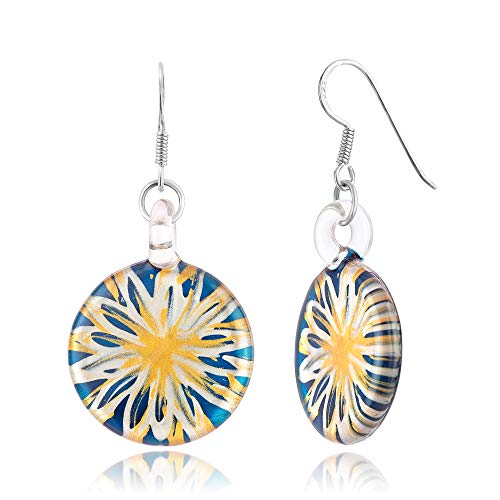 925 Sterling Silver Hand Blown Venetian Murano Glass Blue Flower Dangle Hook Earrings