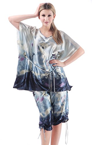 Olivery 2pc Womens Faux Silk Sleepwear with Top & Crop Pants Gorgeous Floral Nightgown Bath Pajamas Set Blue XL