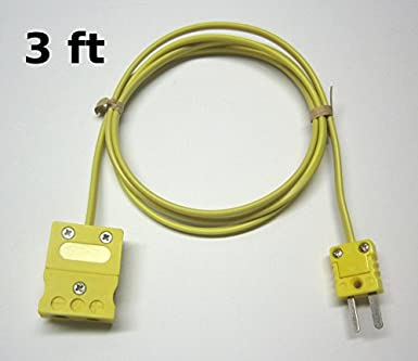 = 3 yard Industrial K-Type Thermocouple Extension Cable Wire with Standard Thermocouple Connectors 9 ft long
