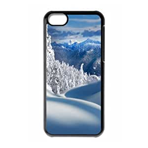 iPhone 5C Case,Fairy Snow Forest Field Hard Shell Back Case for Black iPhone 5C Okaycosama349651