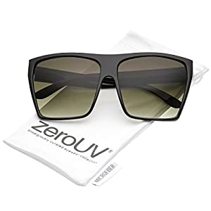 zeroUV - Oversize High Sitting Wide Temples Gradient Lens Square Sunglasses 65mm (Black / Smoke Gradient)