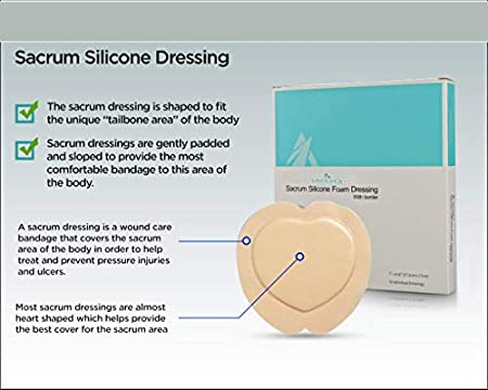 Sacrum Bordered Silicone Foam Dressing For Wound Care 7 X 6 8 Waterproof And Breathable Absorbs Moderate To Hight Exudate 5 Individual Dressings Per Box 7 X6 8 Health Personal Care
