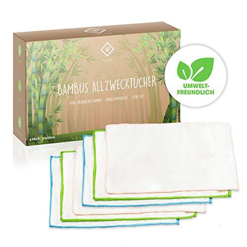 FLIPLINE Premium Bambus Tücher 6er Set perfekt geeignet für Küche Haushalt und Fenster Reinigung – nachhaltige 100% Bambustücher – Kristall Putztücher, Allzwecktücher