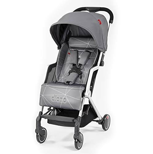Diono Stroller Lock - Diono Traverze, Luggage-Style Super-Compact Stroller, Up to 45 lbs, Grey Linear
