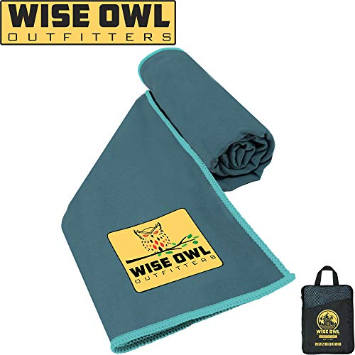 Wise Owl Outfitters Camping Towel - Ultra Soft Compact Quick Dry Microfiber Best Fitness Beach Hiking Yoga Travel Sports Backpacking & The Gym Fast Drying, Free Bonus Washcloth Hand Towel - LG MBlue