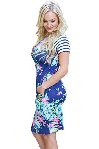 Neue Damen Blau Bunt Floral Print Fashion TShirt Dress Club Wear ...