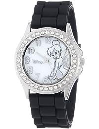 Women's TK1061 Rhinestone Accent Tinkerbell Black Rubber Strap Watch