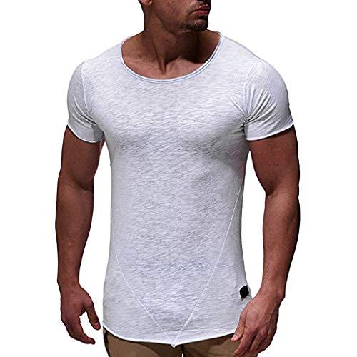 - SFE Fashion Shirts for Men,Men's Pure Color Pattern Casual Fashion Stripe Lapel Short Sleeve Shirt White