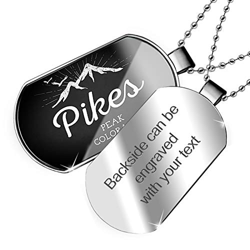(NEONBLOND Personalized Name Engraved Mountains Chalkboard Pikes Peak - Colorado Dogtag Necklace)
