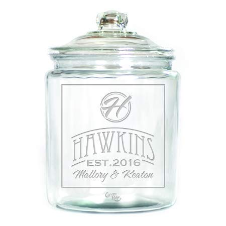 (Engraved Glass Half Gallon Canister - Personalized - Name with Monogram in Circle)