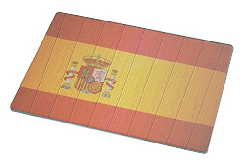 Rikki Knight Spain Flag on Distressed Wood Large Glass Cutting Board by Rikki Knight