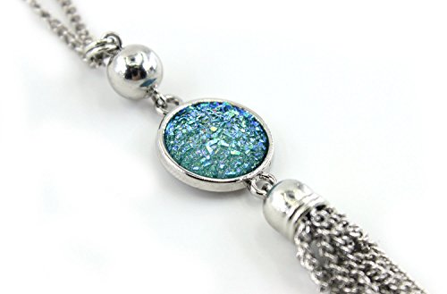 BOUTIQUELOVIN Y-Shaped Long Chain Tassel Necklace With Super Sparkly Faux Druzy Stone, Stainless Steel by BOUTIQUELOVIN (Image #3)