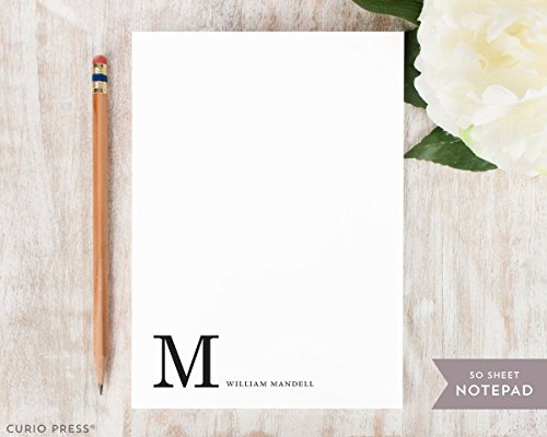 CORNER MONOGRAM NOTEPAD - Personalized Stationery/Stationary 5x7 or 8x10 Note Pad