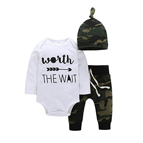 Trimakeshop Baby Boys Letters Arrow Printed Romper Camouflage Pants Hat Outfits  3 6M  Worth The Wait