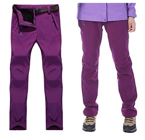 XiuFu Women's Winter Outdoor Windproof Waterproof stretch Thick Warm Fleece Hiking Mountain Pants