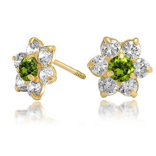 14k Gold Pierced Earrings - Bling Jewelry Kids 14K Gold Simulated Peridot CZ Screw Back Flower Studs