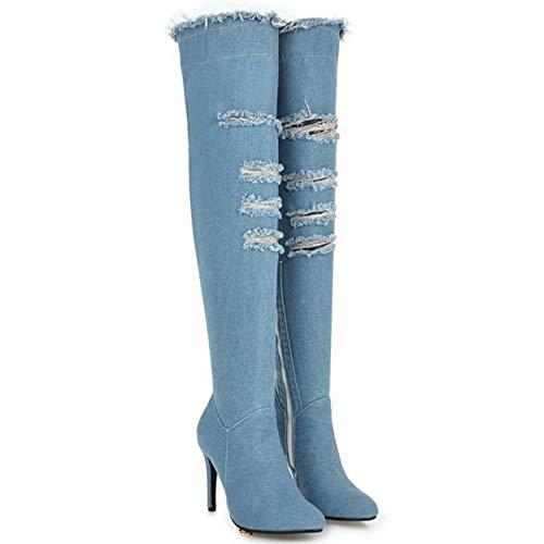 Moda 6 Zanpa Azzurro Gli Spillo Stivali Di Tacchi Donne A Lunghi TwHSzqX
