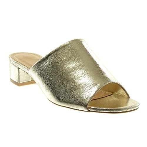 Angkorly Zapatillas Moda Sandalias Mules Slip-On Mujer Tacón Ancho Alto 4 cm Oro