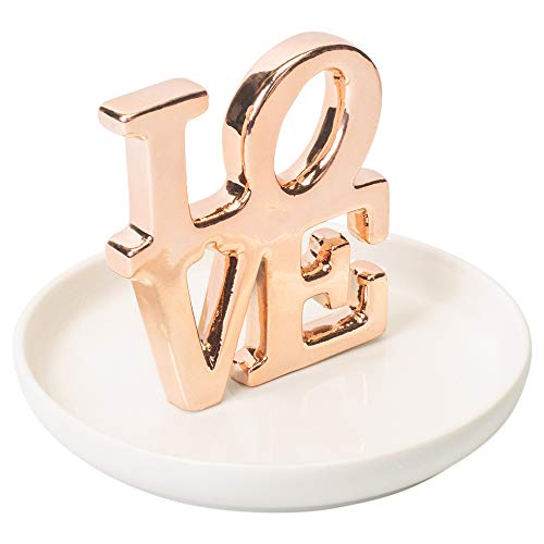 (Elanze Designs Love Rose Gold Tone and White Porcelain Ring Dish Jewelry Holder)