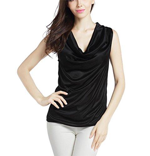Black Satin Stretch Sleeveless Top (Klorim Women's Sexy Sleeveless Satin Cowl Neck Tank Top Black Small)