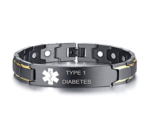 XUANPAI Type 1 Diabetes Stainless Steel Magnet Therapy Medical Alert ID Bracelet for Men Women,Adjustable