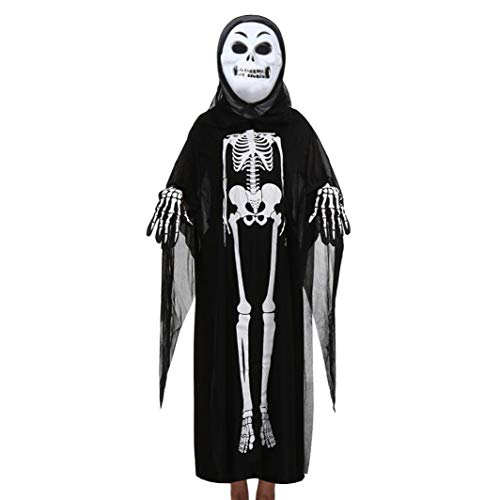 Promotions Women Men Kids Baby Halloween Cosplay Skeleton Costume Bone Print Cloak Mask Gloves Family Outfits Set ODGear for $<!--$0.01-->