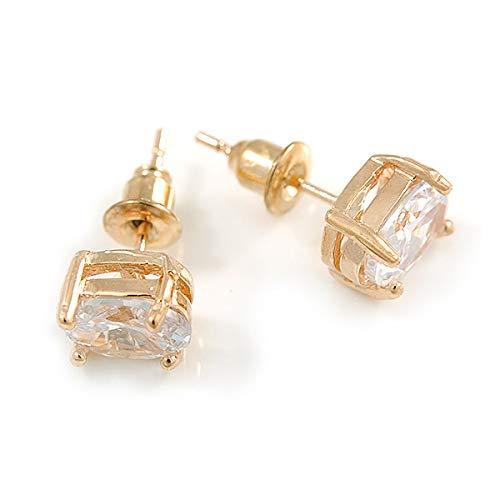 8mm Across Classic Oval Cut Clear CZ Stud Earrings In Gold Tone Metal
