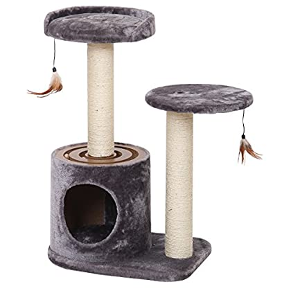 Image of Pet Supplies Acceleration - PetPals Cat Interactive Multi-Level Cat Condo with Hideout and Lookout Perch, 20 x 15 x 31', Multicolor