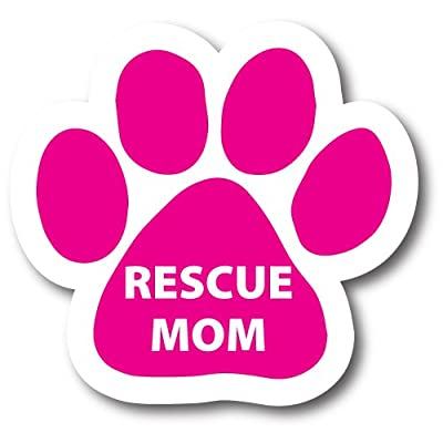 Magnet Me Up Rescue Mom Pawprint Car Magnet Paw Print Auto Truck Decal Magnet: Automotive